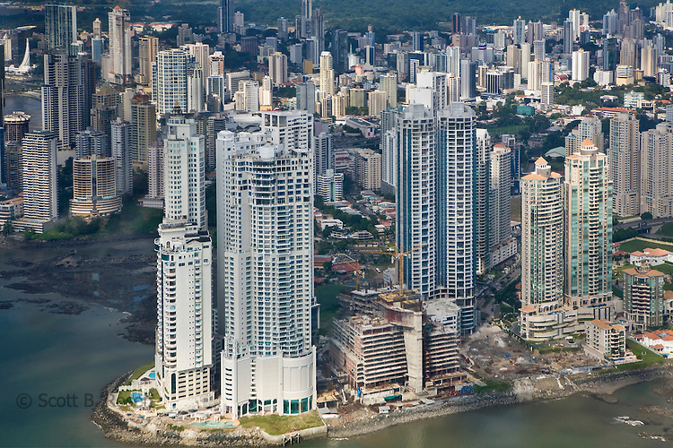 Skyline of Panama City with new high-rise condos under construction, Panama City, Panama