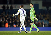 Leeds United's Bailey Peacock-Farrell in high spirits as he celebrates the win with team-mate Barry Douglas at the final whistle<br /> <br /> Photographer Rich Linley/CameraSport<br /> <br /> The EFL Sky Bet Championship - Leeds United v Reading - Tuesday 27th November 2018 - Elland Road - Leeds<br /> <br /> World Copyright © 2018 CameraSport. All rights reserved. 43 Linden Ave. Countesthorpe. Leicester. England. LE8 5PG - Tel: +44 (0) 116 277 4147 - admin@camerasport.com - www.camerasport.com