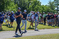 Henrik Stenson (SWE) and Justin Rose (GBR) head down 8 during Round 1 of the Zurich Classic of New Orl, TPC Louisiana, Avondale, Louisiana, USA. 4/26/2018.<br /> Picture: Golffile | Ken Murray<br /> <br /> <br /> All photo usage must carry mandatory copyright credit (&copy; Golffile | Ken Murray)