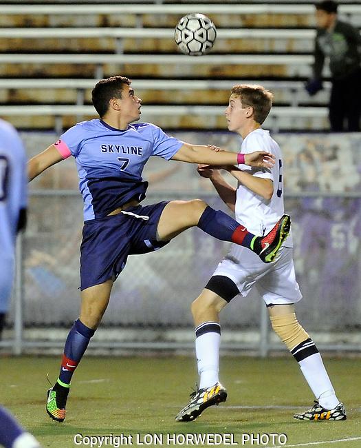 Skyline High School defeats Pioneer High School, 1-0, in MHSAA Div. 1 Boy's Soccer District game at Pioneer High School, Monday night, October 13, 2014.