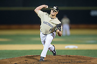Wake Forest Demon Deacons starting pitcher Colin Peluse (8) in action against the Davidson Wildcats at David F. Couch Ballpark on February 28, 2017 in Winston-Salem, North Carolina.  The Demon Deacons defeated the Wildcats 13-5.  (Brian Westerholt/Four Seam Images)
