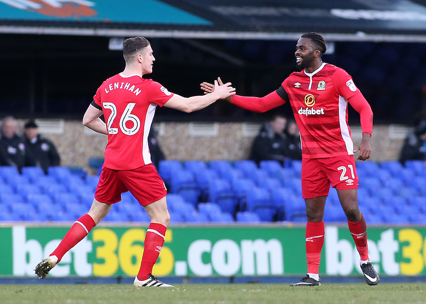 Blackburn Rovers' Hope Akpan celebrates scoring his sides equalising goal to make the score 1-1 with Darragh Lenihan<br /> <br /> Photographer David Shipman/CameraSport<br /> <br /> The EFL Sky Bet Championship - Ipswich Town v Blackburn Rovers - Saturday 14th January 2017 - Portman Road - Ipswich<br /> <br /> World Copyright &copy; 2017 CameraSport. All rights reserved. 43 Linden Ave. Countesthorpe. Leicester. England. LE8 5PG - Tel: +44 (0) 116 277 4147 - admin@camerasport.com - www.camerasport.com