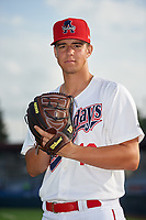 Auburn Doubledays pitcher Jackson Rutledge (19) poses for a photo before a NY-Penn League game against the Connecticut Tigers on July 12, 2019 at Falcon Park in Auburn, New York.  Auburn defeated Connecticut 7-5.  (Mike Janes/Four Seam Images)