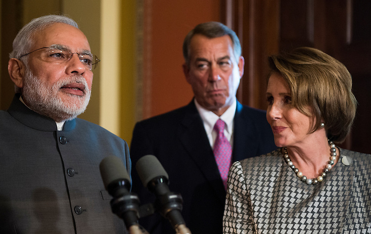 UNITED STATES - SEPTEMBER 30: From left, India Prime Minister Narenda Modi, House Speaker John Boehner, R-Ohio, and House Minority Leader Nancy Pelosi, D-Calif., hold a media availability with bipartisan House leaders immediately after a closed meeting to welcome Modi to the U.S. Capitol on Tuesday, Sept. 30, 2014. (Photo By Bill Clark/CQ Roll Call)