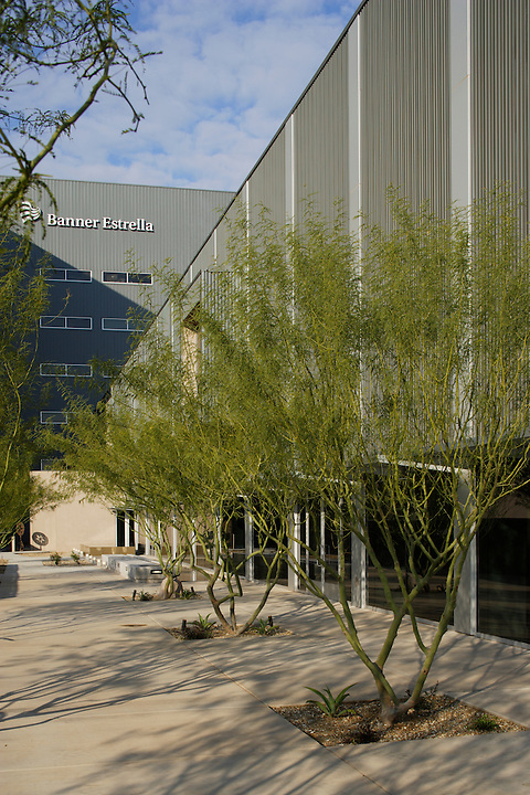 Banner Estrella Medical Center in Phoenix was designed by NBBJ and completed in January 2005. Classic modern architecture with references to local weather and geology reflected in surfaces and landscape.