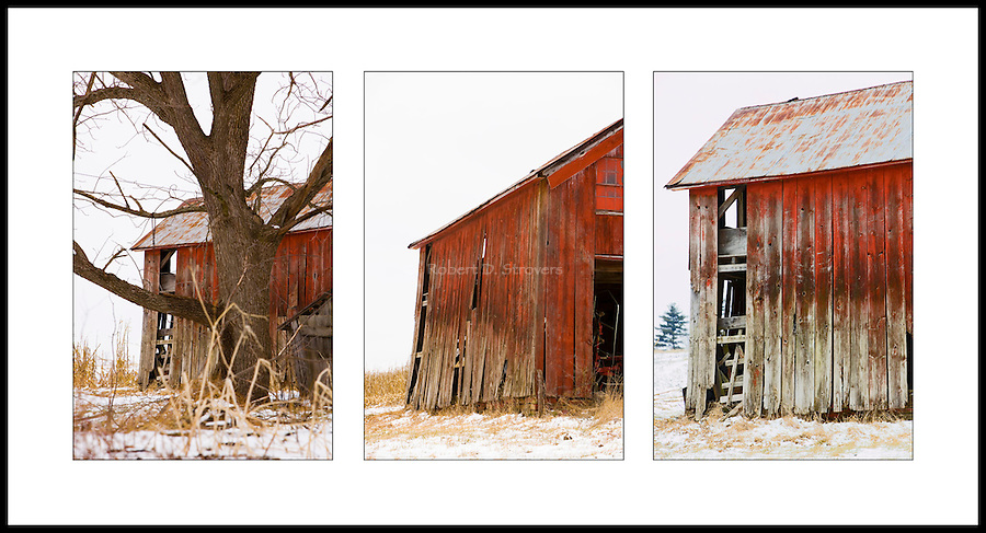 Old barn triptych, Southeastern Ohio.