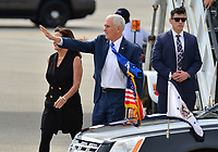 FORT LAUDERDALE, FL - NOVEMBER 30: U.S.A. Vice President Mike Pence (R) and wife Karen Pence arrives at Air Force Two at Fort Lauderdale Airport Jetscape alpha. on November 30, 2018 in Fort Lauderdale, Florida. The Vice President is in Florida to speak at the Israeli American Council National Conference 2018  <br /> CAP/MPI10<br /> &copy;MPI10/Capital Pictures