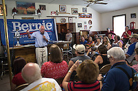 Democratic Presidential candidate Senator Bernie Sanders answers questions while campaigning at a campaign event at the IAFF Local 809 Union Hall in Clinton during a full day on the road in eastern Iowa.