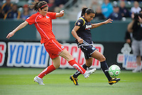 Los Angeles Sol Marta (right) keeps the ball away from Washington Freedom Alex Singer (left) in the second half at the Home Depot Center in Carson, CA on Sunday, March 29, 2009..