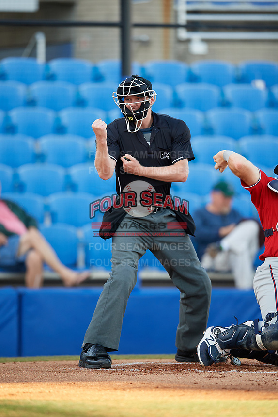 Home plate umpire Louie Krupa calls a strike during a game between the Fort Myers Miracle and the Dunedin Blue Jays on April 17, 2018 at Dunedin Stadium in Dunedin, Florida.  Dunedin defeated Fort Myers 5-2.  (Mike Janes/Four Seam Images)