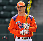 Tyler Slaton (18) of the Clemson Tigers in the Reedy River Rivalry game against the South Carolina Gamecocks on March 1, 2014, at Fluor Field at the West End in Greenville, South Carolina. South Carolina won, 10-2.