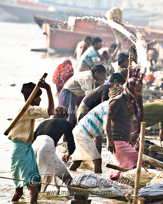 The wallahs wash and beat the clothes on the banks of the Ganges.<br /> (Photo by Matt Considine - Images of Asia Collection)