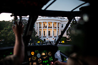 The South Portico of the White House is seen from aboard Marine One as it approaches the South Lawn for a landing, May 11, 2012. (Official White House Photo by Pete Souza)<br /> <br /> This official White House photograph is being made available only for publication by news organizations and/or for personal use printing by the subject(s) of the photograph. The photograph may not be manipulated in any way and may not be used in commercial or political materials, advertisements, emails, products, promotions that in any way suggests approval or endorsement of the President, the First Family, or the White House.