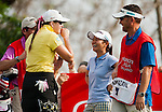 CHON BURI, THAILAND - FEBRUARY 16:  Paula Creamer of USA and Ai Miyazato of Japan laugh on the 18th tee during day one of the LPGA Thailand at Siam Country Club on February 16, 2012 in Chon Buri, Thailand. Photo by Victor Fraile / The Power of Sport Images