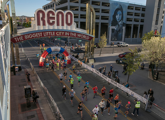 Participants start the marathon portion of the Downtown River Run on Sunday, April 30, 2017 in Reno, Nevada.