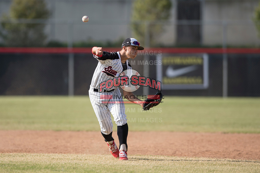 Etiwanda High School Eagles shortstop Cody Freeman (1) during the First Round of California Division 1 Playoffs against the JSerra Catholic High School Lions at Etiwanda High School on May 18, 2018 in Rancho Cucamonga, California. Etiwanda High School defeated JSerra Catholic High School 8-4. (Zachary Lucy/Four Seam Images)