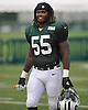 Lorenzo Mauldin #55 of the New York Jets heads off the field after a day of team training camp at Atlantic Health Jets Training Center in Florham Park, NJ on Friday, Aug. 5, 2016