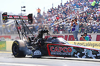 Apr 11, 2015; Las Vegas, NV, USA; NHRA top fuel driver Steve Torrence during qualifying for the Summitracing.com Nationals at The Strip at Las Vegas Motor Speedway. Mandatory Credit: Mark J. Rebilas-