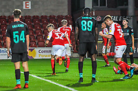 Fleetwood Town's defender Peter Clarke (4) celebrates with Fleetwood Town's defender Ashley Eastham (5) during the The Leasing.com Trophy match between Fleetwood Town and Liverpool U21 at Highbury Stadium, Fleetwood, England on 25 September 2019. Photo by Stephen Buckley / PRiME Media Images.