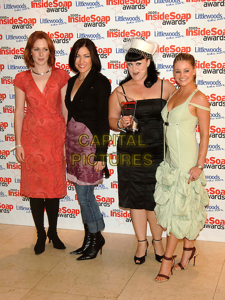 LAURA ROGERS, LIZ MAY PRICE, VICTORIA BUSH & NICOLA STAPLETON.Inside Soap Awards 2005 at Floridita London, WI, London..September 26th, 2005.full length red purple black green dress.www.capitalpictures.com.sales@capitalpictures.com.©Capital Pictures