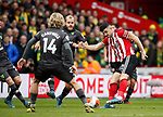 John Egan of Sheffield Utd takes a shot on goal during the Premier League match at Bramall Lane, Sheffield. Picture date: 7th March 2020. Picture credit should read: Simon Bellis/Sportimage