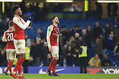 10th January 2018, Stamford Bridge, London, England; Carabao Cup football, semi final, 1st leg, Chelsea versus Arsenal; Rob Holding of Arsenal after the 0-0 drawer looks up at the Arsenal fans