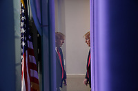 United States President Donald J. Trump arrives to a news conference in the Brady Press Briefing Room of the White House in Washington, D.C., U.S., on Friday, May 22, 2020. Trump didn't wear a face mask during most of his tour of Ford Motor Co.'s ventilator facility Thursday, defying the automaker's policies and seeking to portray an image of normalcy even as American coronavirus deaths approach 100,000. <br /> Credit: Andrew Harrer / Pool via CNP/AdMedia