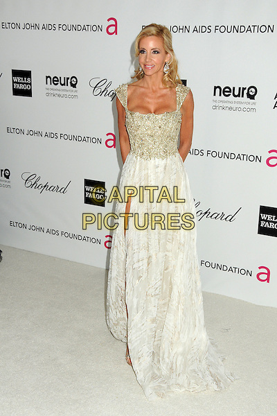 Camille Grammer.20th Annual Elton John Academy Awards Viewing Party held at West Hollywood Park, West Hollywood, California, USA..February 26th, 2012.oscars full length dress white silver slit split.CAP/ADM/BP.©Byron Purvis/AdMedia/Capital Pictures.