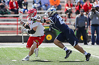 College Park, MD - April 8, 2017: Maryland Terrapins Matt Rambo (1) runs towards the goal during game between Penn State and Maryland at  Capital One Field at Maryland Stadium in College Park, MD.  (Photo by Elliott Brown/Media Images International)