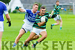 David Griffin St Brendans under pressure from Paud Costelloe Shannon Rangers during the Garveys Supervalu Senior Championship Round 2 game played in Tarbert on Saturday evening