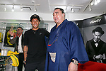 (L to R) Neymar Jr and Japanese sumo wrestler Harumafuji Kohei, pose for cameras at GaGa MILANO Harajuku store on May 30, 2017, Tokyo, Japan. Many fans gathered in front of GaGa MILANO store in Tokyo's fashion district of Harajuku to get a glimpse of their idol. The Brazilian soccer player is in Japan to promote GaGa Milano watches. The brand is celebrating their 8th anniversary since its launch in Japan. (Photo by Rodrigo Reyes Marin/AFLO)