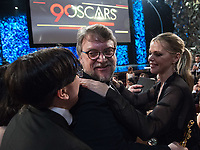 Guillermo del Toro celebrates winning the Oscar&reg; for Best motion picture of the year  for work on &ldquo;The Shape of Water&rdquo; during the live ABC Telecast of The 90th Oscars&reg; at the Dolby&reg; Theatre in Hollywood, CA on Sunday, March 4, 2018.<br /> *Editorial Use Only*<br /> CAP/PLF/AMPAS<br /> Supplied by Capital Pictures