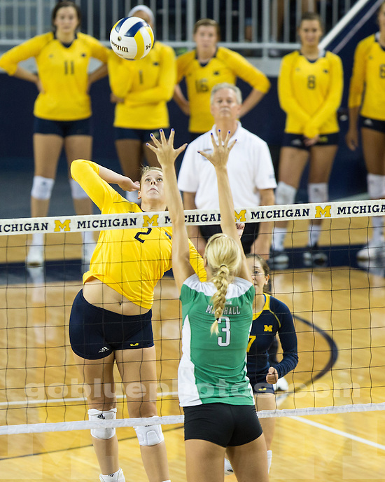 The University of Michigan women's volleyball team beat Marshall, 3-0, at Crisler Center in Ann Arbor, Mich., on September 20, 2013.