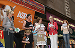 "Christine Ebersole, Jayne Atkinson, Rupert Evert with Angela Lansbury on stage with Mary Tyler Moore and Bernadette Peters at Broadway Barks 11 - a ""Pawpular"" star-studded dog and cat adopt-a-thon on July 11, 2009 in Shubert Alley, New York City, NY. (Photo by Sue Coflin/Max Photos)"