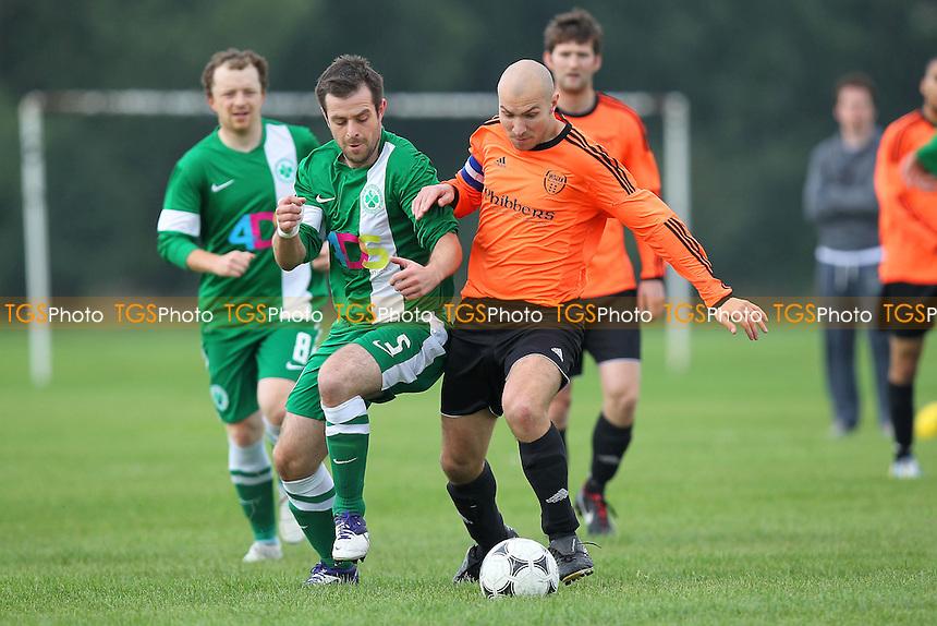 Boston Celtic (green/white) vs Wojak Sunday - Hackney & Leyton Sunday League Football at South Marsh, Hackney Marshes, London - 29/09/13 - MANDATORY CREDIT: Gavin Ellis/TGSPHOTO - Self billing applies where appropriate - 0845 094 6026 - contact@tgsphoto.co.uk - NO UNPAID USE