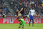 Krzysztof Piatek of AC Milan leaps over Emil Audero of Sampdoria during the Serie A match at Giuseppe Meazza, Milan. Picture date: 6th January 2020. Picture credit should read: Jonathan Moscrop/Sportimage