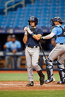 Connor Hollis (4) at bat during the Tampa Bay Rays Instructional League Intrasquad World Series game on October 3, 2018 at the Tropicana Field in St. Petersburg, Florida.  (Mike Janes/Four Seam Images)