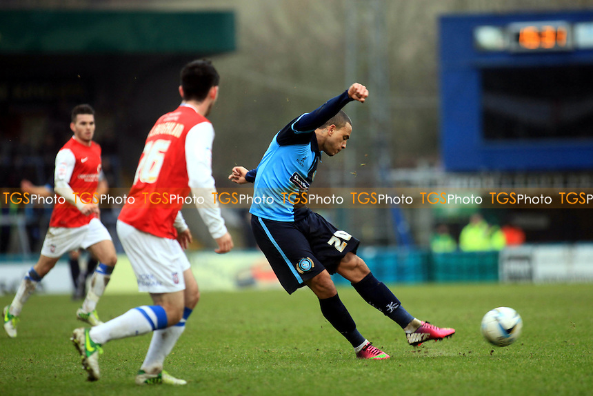Wycombe's Dean Morgan has a shot at goal - Wycombe Wanderers vs York City - NPower League Two Football at Adams Park, High Wycombe - 09/02/13 - MANDATORY CREDIT: Paul Dennis/TGSPHOTO - Self billing applies where appropriate - 0845 094 6026 - contact@tgsphoto.co.uk - NO UNPAID USE.