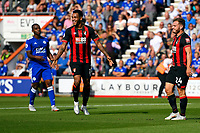 Ryan Fraser of AFC Bournemouth right scores the first goal and is congratulated by Joshua King of AFC Bournemouth (m) during AFC Bournemouth vs Leicester City, Premier League Football at the Vitality Stadium on 15th September 2018