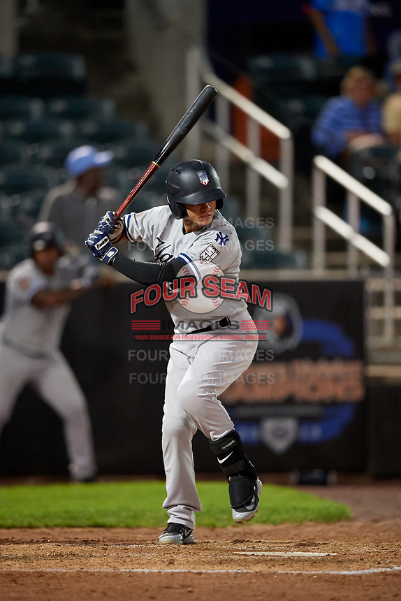 Staten Island Yankees second baseman Jesus Bastidas (2) at bat during a game against the Aberdeen IronBirds on August 23, 2018 at Leidos Field at Ripken Stadium in Aberdeen, Maryland.  Aberdeen defeated Staten Island 6-2.  (Mike Janes/Four Seam Images)