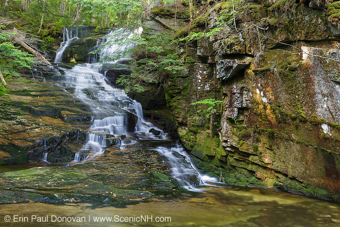 Tama Falls on Snyder Brook in Randolph, New Hampshire during the summer months. This waterfall is located along the Fallsway Trail and is part of the Snyder Brook Scenic Area.