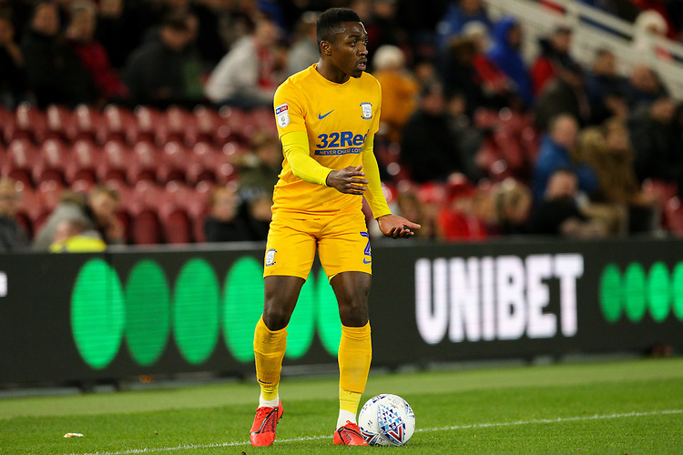 Preston North End's Darnell Fisher<br /> <br /> Photographer Alex Dodd/CameraSport<br /> <br /> The EFL Sky Bet Championship - Middlesbrough v Preston North End - Tuesday 1st October 2019  - Riverside Stadium - Middlesbrough<br /> <br /> World Copyright © 2019 CameraSport. All rights reserved. 43 Linden Ave. Countesthorpe. Leicester. England. LE8 5PG - Tel: +44 (0) 116 277 4147 - admin@camerasport.com - www.camerasport.com