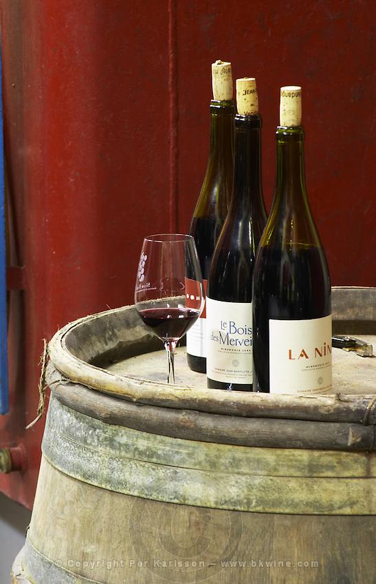La Nine and Le Bois des Merveilles (the forest of wonders) Domaine Jean Baptiste Senat. In Trausse. Minervois. Languedoc. Barrel cellar. France. Europe. Bottle. Wine glass.