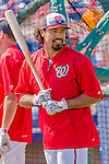 5 March 2015: Washington Nationals third baseman Anthony Rendon awaits his turn in the batting cage prior to a Spring Training game against the New York Mets at Space Coast Stadium in Viera, Florida. The Nationals rallied to defeat the Mets 5-4 in Grapefruit League play. Mandatory Credit: Ed Wolfstein Photo *** RAW (NEF) Image File Available ***