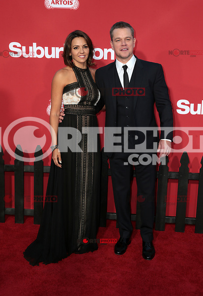 WESTWWOD, CA - October 22: Matt Damon, Luciana Barroso, At The Premiere Of Paramount Pictures' 'Suburbicon' At the Village Theatre California on October 22, 2017. Photo Credit: Faye Sadou /Media Punch /NortePhoto.com