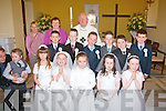 4414-4417.---------.Pupils from St Joseph's National school, Castlemaine who received their 1st Holy communion last Saturday at St Carthage's church, Kiltallagh,were(front)L-R James Lyons, Monica Pipiraite, Natasha Myres, Sophie O'Brien and Michelle & maggie O'Dowd (back)L-R Seamus O'Brien,Seamus & Jack Nagle, Adam Lenihan, Oisi?n O'Connor and John Michael O'Brien. Pictured with them were Mrs Mary Galvin and Tricia Begley (teachers)and Fr Luke Roche.
