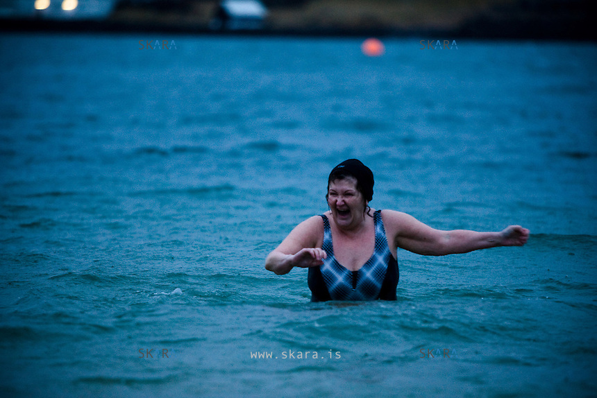Around 150 people gathered in Nautholsvik, Reykjavik Iceland to swim in the see on new year's day. The temperature was around 4°C and the water temperature was the same.