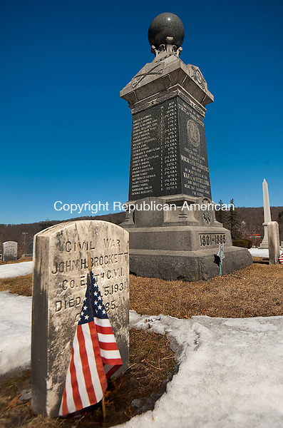 WINSTED ,  CT,  CT-041115JS53- This Pro Patria  monument was dedicated in 1900 in the Forest View cemetery in Winsted, in honor to men from Winchester killed in the Civil War but buried elsewhere.<br />  Jim Shannon Republican-American