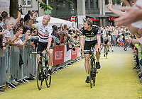 fresh British Champion Steve Cummings (GBR/Dimension Data) &amp; Edvald Boasson Hagen (NOR/Dimension Data) taking a selfie up the Yellow Brick Road<br /> <br /> &quot;Le Grand D&eacute;part&quot; <br /> 104th Tour de France 2017 <br /> Team Presentation in D&uuml;sseldorf/Germany