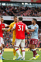 Thomas Heaton of Aston Villa and Mattéo Guendouzi of Arsenal are separated during the Premier League match between Arsenal and Aston Villa at the Emirates Stadium, London, England on 22 September 2019. Photo by Carlton Myrie / PRiME Media Images.